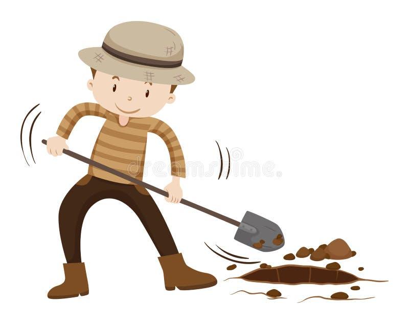 Farmer digging hold on the ground. Illustration vector illustration
