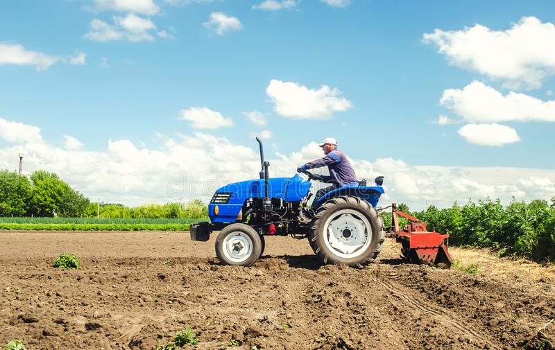 Farmer drives a tractor with a milling machine. Loosens, grind and mix soil on plantation field. Field preparation for new crop royalty free stock photos