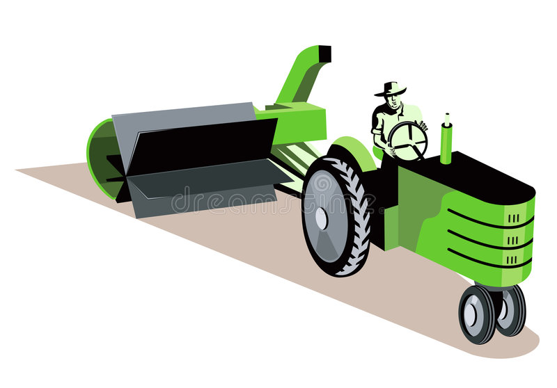 Farmer driving his tractor stock illustration