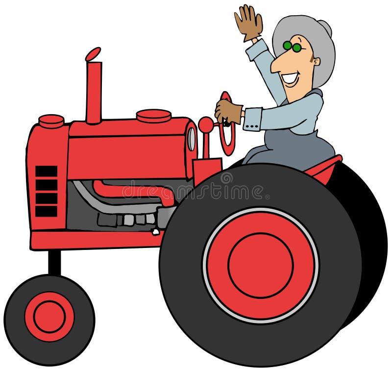 Farmer driving an old tractor. Illustration of a farmer waving while driving an old red tractor vector illustration
