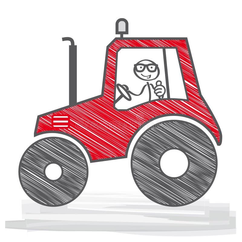 Farmer driving a tractor. Happy Farmer in a red tractor. Vector Illustration vector illustration