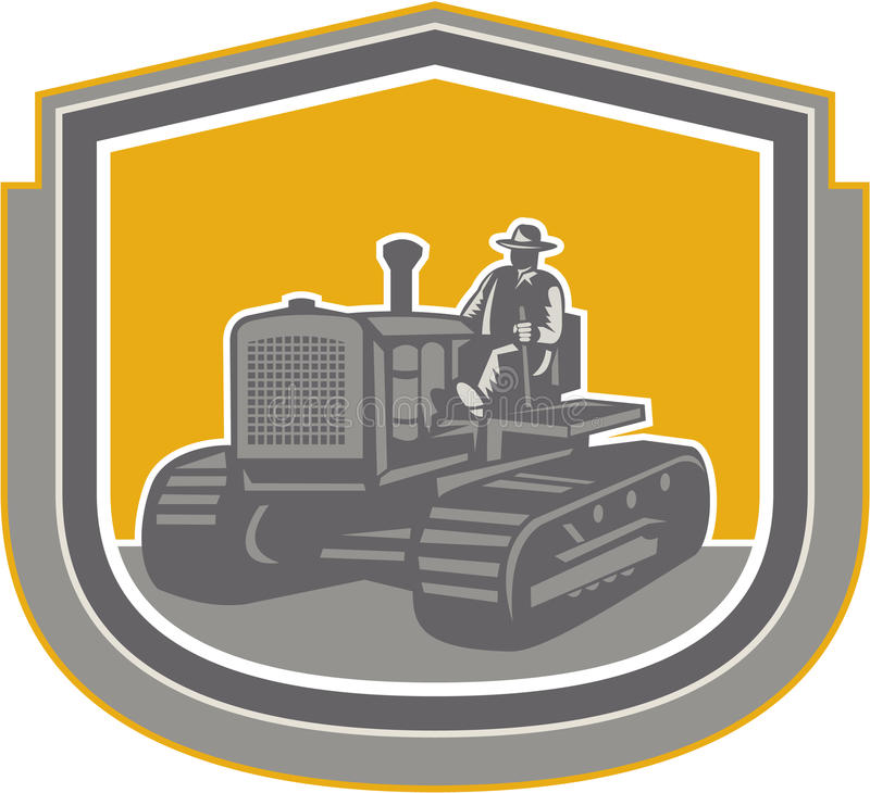 Farmer Driving Tractor Plowing Farm Shield Retro royalty free illustration
