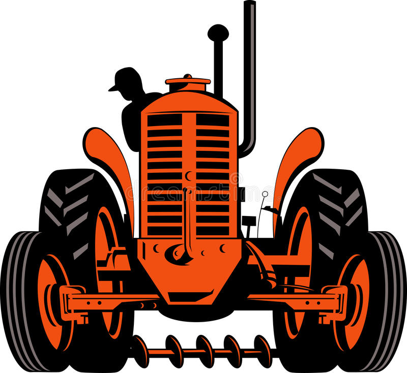 Farmer driving vintage tractor. Vector illustration of a farmer at work operating a tractor stock illustration