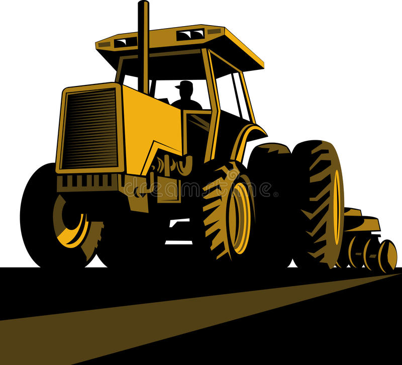 Farmer driving vintage tractor stock illustration