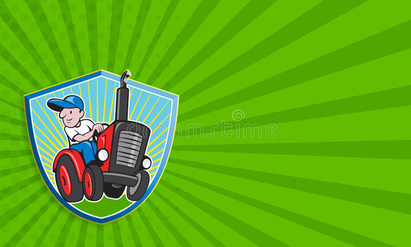 Farmer Driving Vintage Tractor Cartoon vector illustration