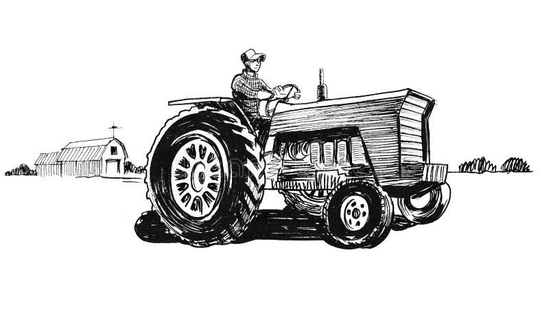 Farmer Driving Vintage Tractor Stock Illustration