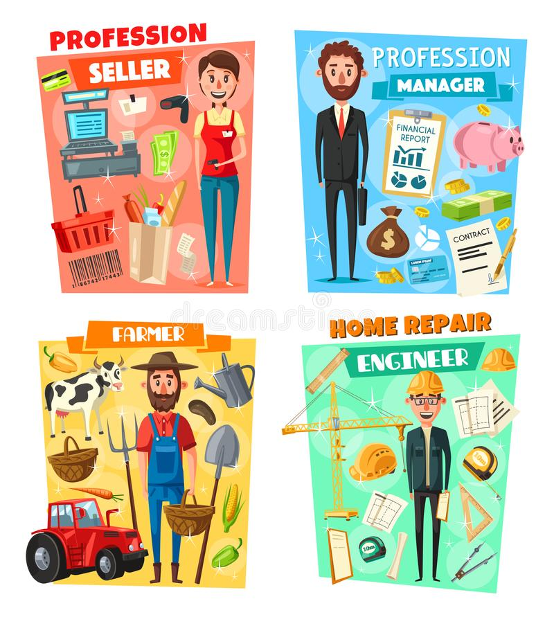 Farmer, engineer, manager and seller stock illustration
