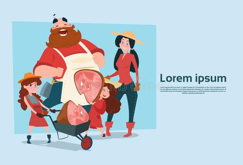 Farmer Family Hold Pig Leg Pork Butcher Animal Farm. Flat Vector Illustration royalty free illustration