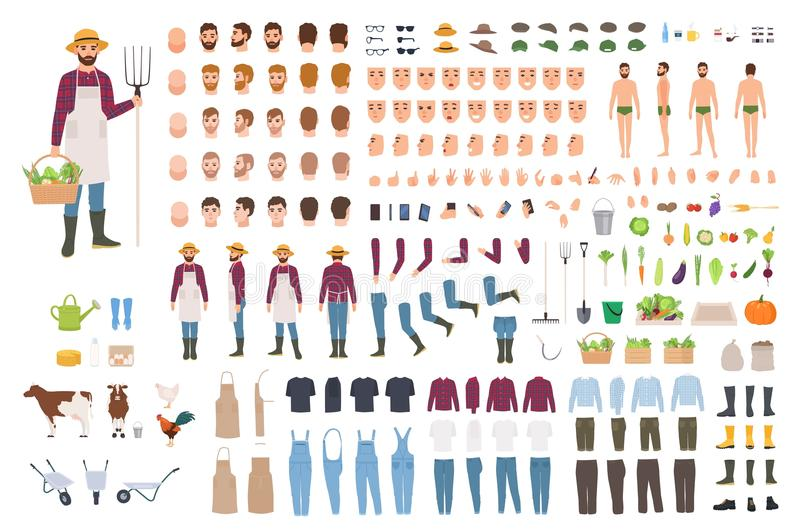 Farmer, farm or agricultural worker constructor or DIY kit. Set of male character body parts, facial expressions stock illustration