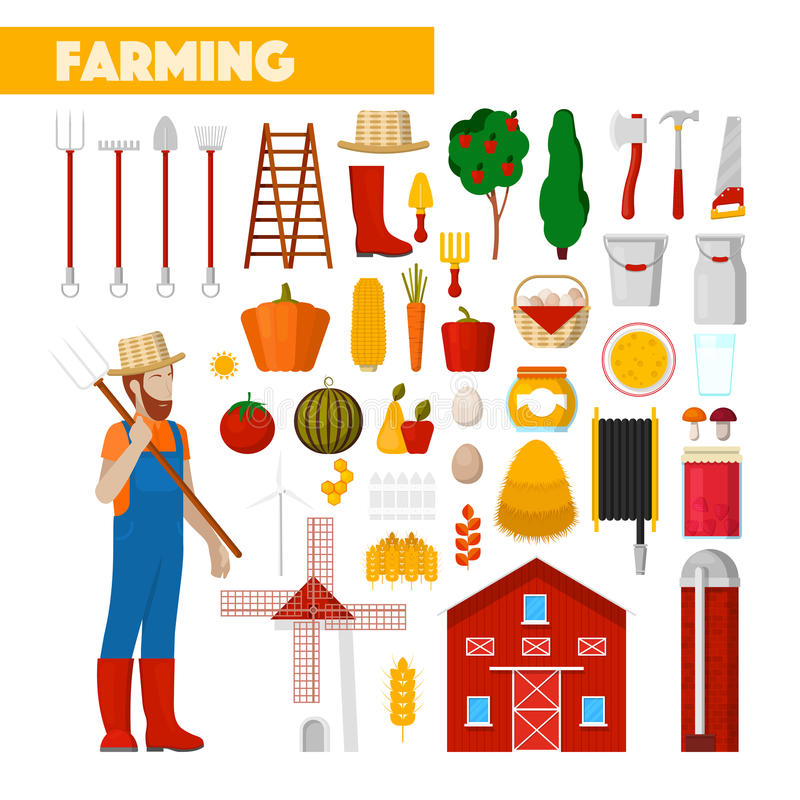Farmer with Farming Equipment Fresh Natural Food and Windmill stock illustration