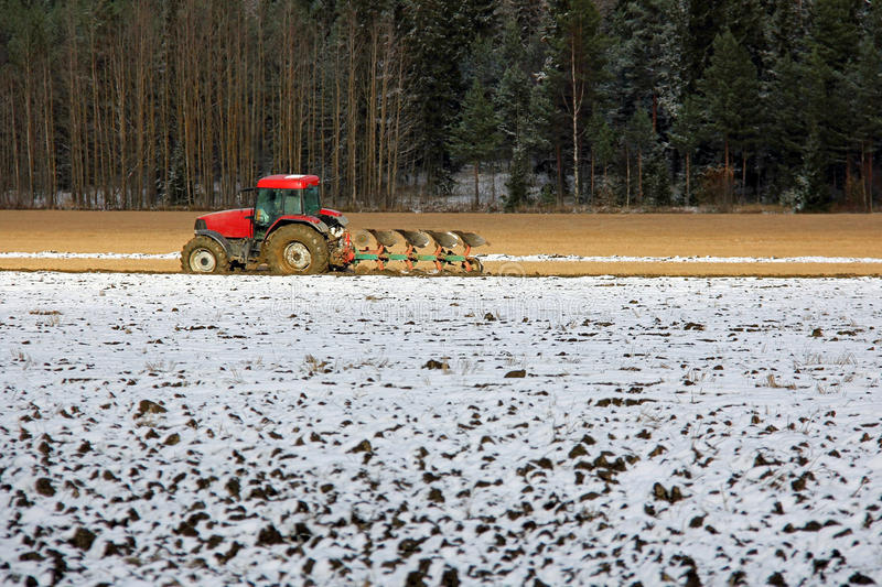 Farmer on Field in Early Winter royalty free stock images