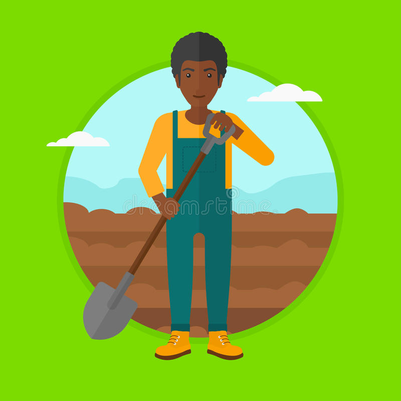 Farmer on the field with shovel. royalty free illustration