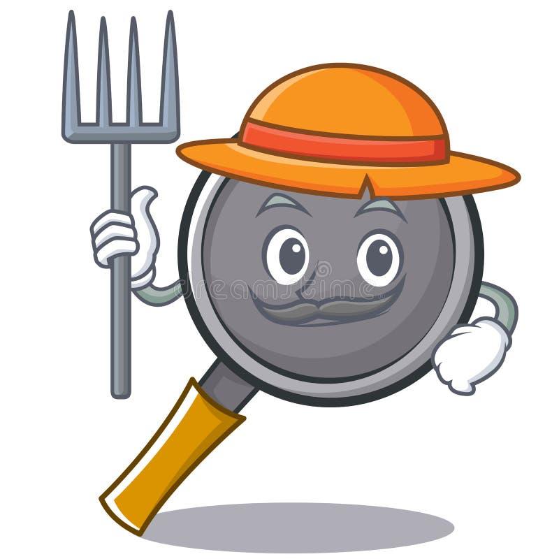Farmer frying pan cartoon character. Vector illustration royalty free illustration