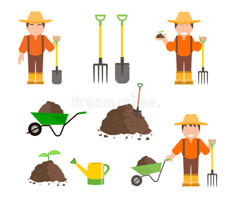 Farmer and Gardener with Tools royalty free illustration