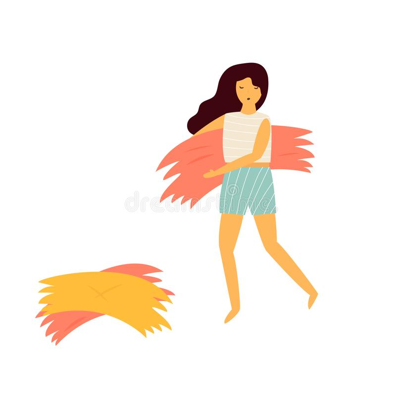 Farmer girl carrying the haystack. Autumn works. Farmer girl carrying the haystack in the field. Autumn works. Vector illustration royalty free illustration