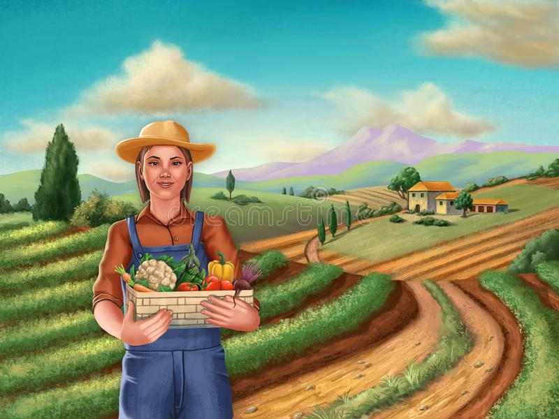 Farmer girl in a rural landscape stock illustration