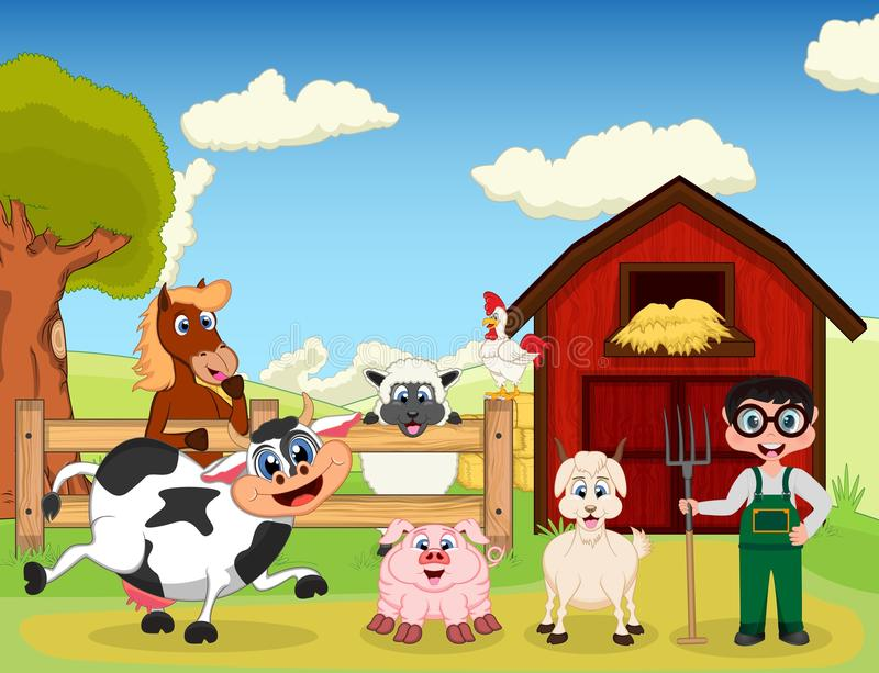 Farmer, Goat, Pig, Horse, Goat, Sheep, Chicken And Cow On