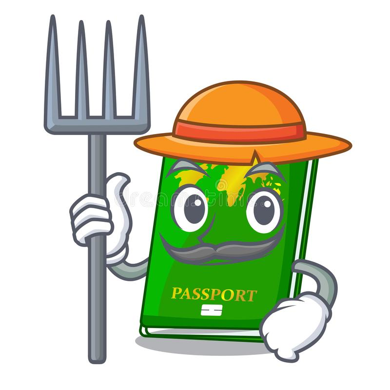 Farmer green passport in a character bag. Vector illustration royalty free illustration