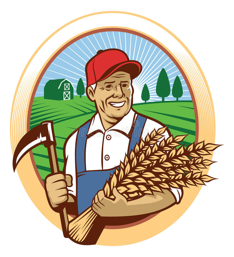 Farmer harvest the wheat royalty free illustration