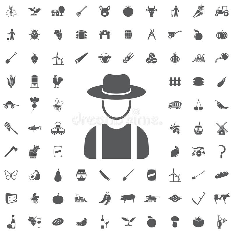 Farmer in hat icon. Farmer in hat, village man icon on the white background stock illustration