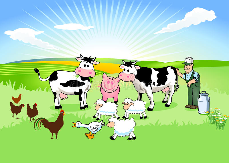Farmer and his Animals royalty free illustration