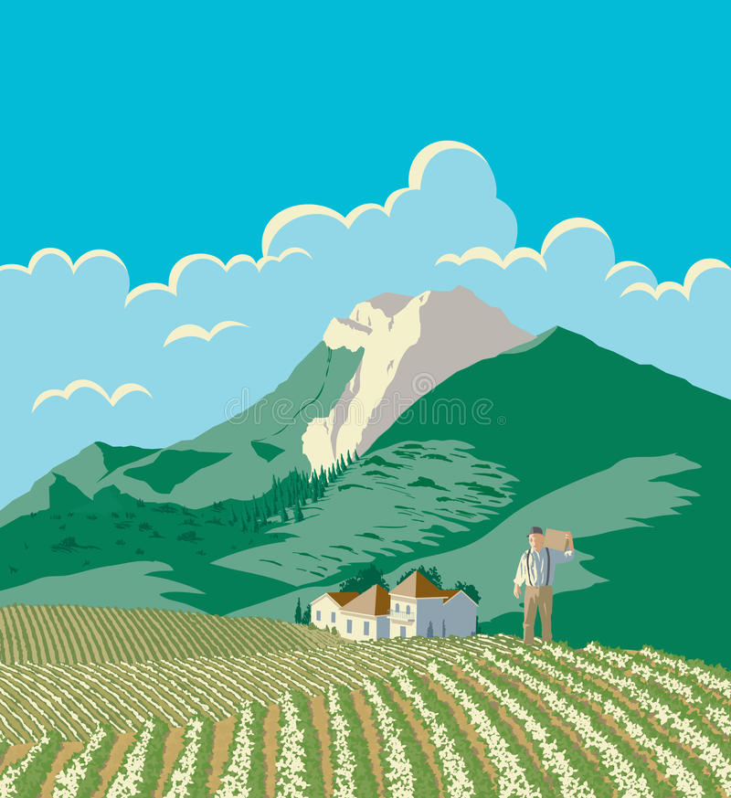 Farmer And His Field stock illustration