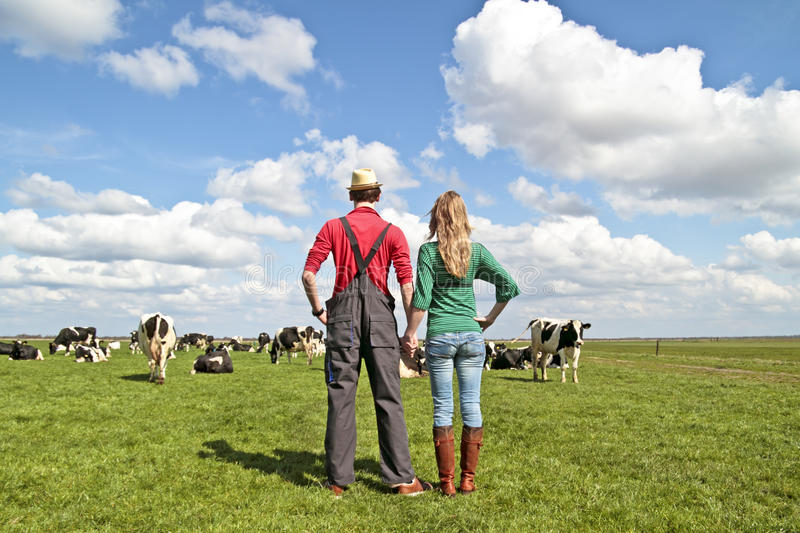 The farmer and his wife in the meadows royalty free stock photos