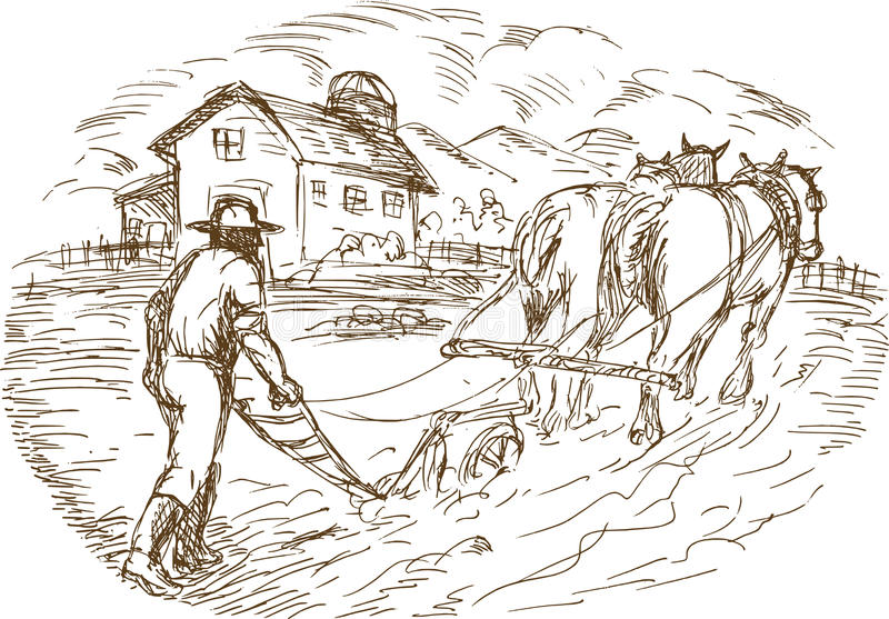 Download Farmer And Horse Plowing Field Stock Illustration - Image: 14861384