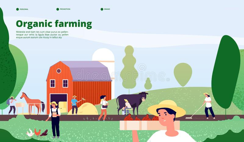 Farmer landing page. Agricultural workers work with equipment in nature, agriculture and organic farming vector concept vector illustration