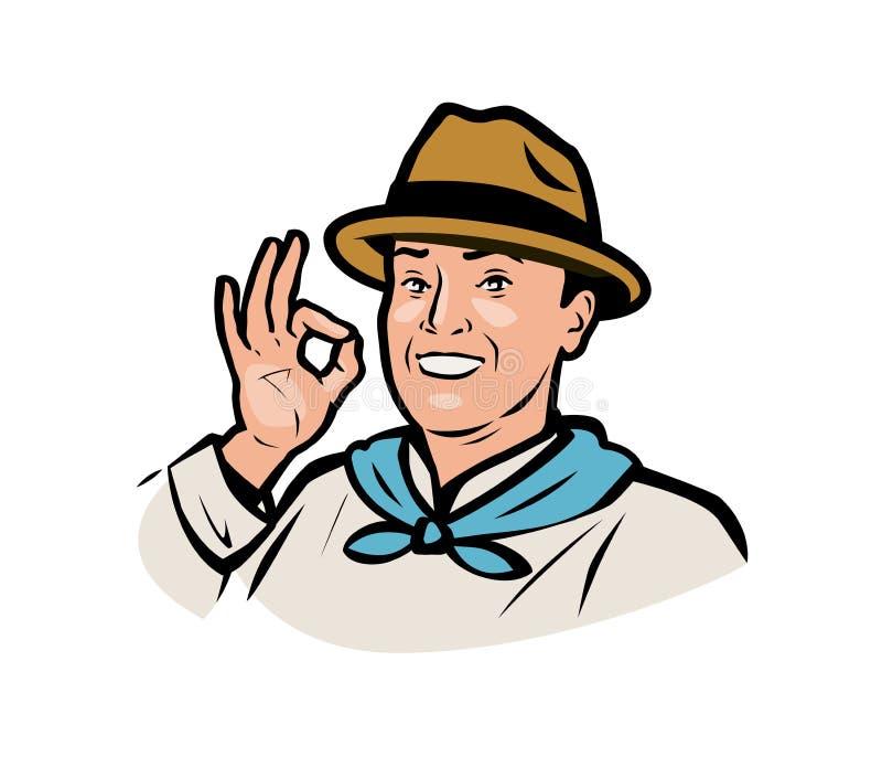 Farmer logo. Funny adult man in a hat. Vector illustration royalty free illustration