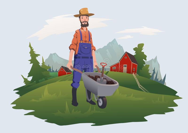Farmer, man with wheelbarrow working on a farm in mountain landscape. Farming, agriculture. Vector illustration stock illustration