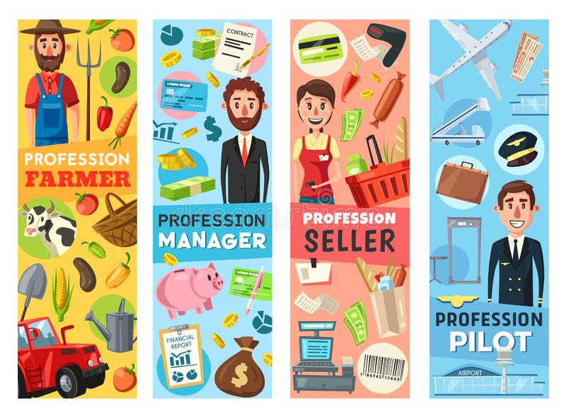 Farmer, manager, pilot and seller professions stock illustration