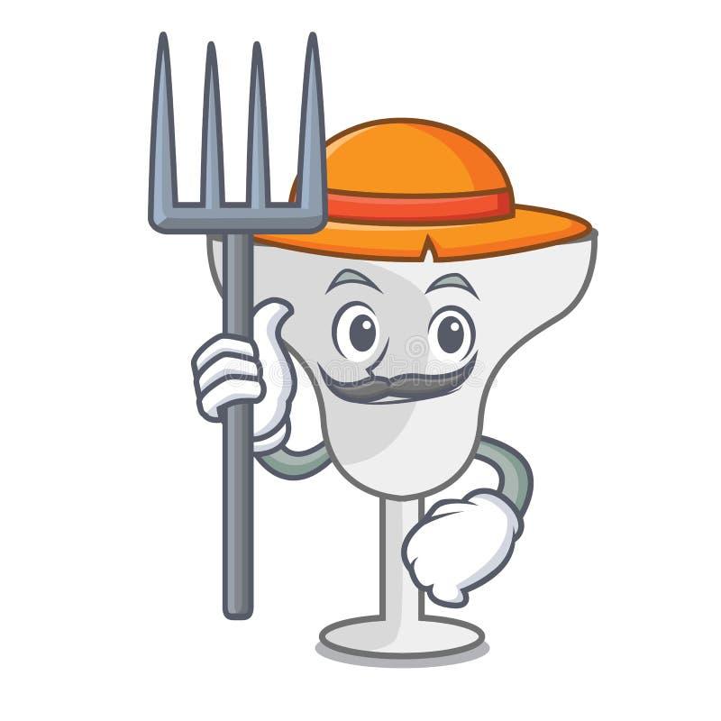 Farmer margarita glass character cartoon. Vector illustration royalty free illustration