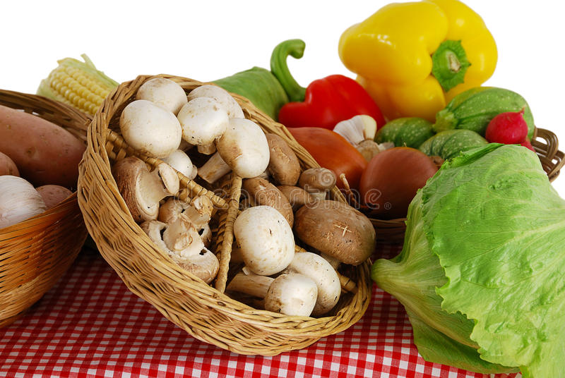 Farmer market stand with variety of vegetables stock photo