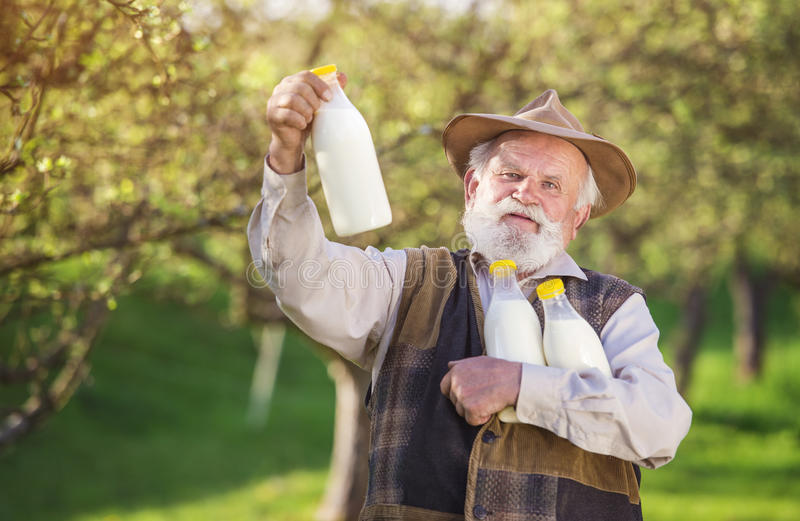 Farmer with milk bottles stock photo