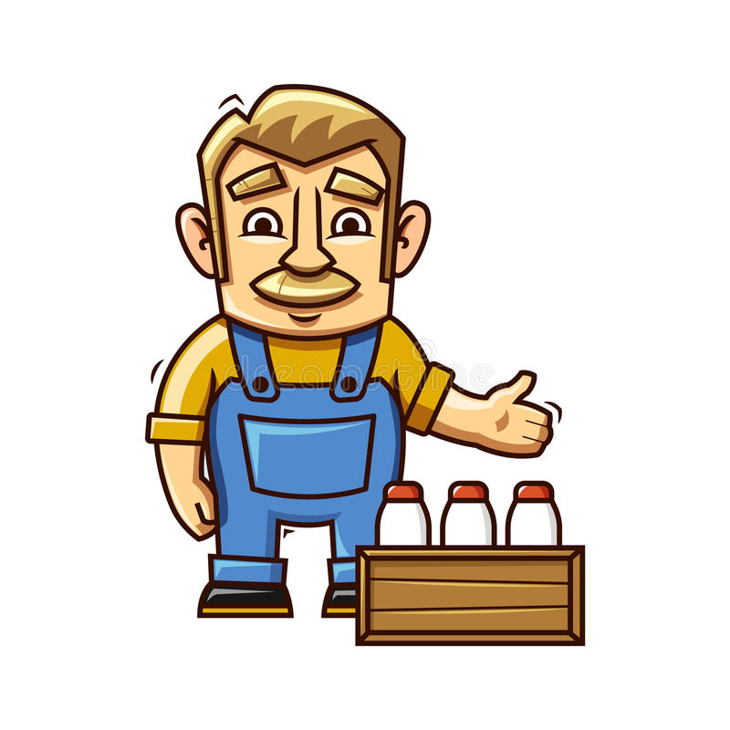 Farmer with milk vector illustration