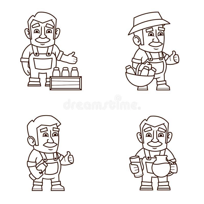 Farmer with milk stock illustration
