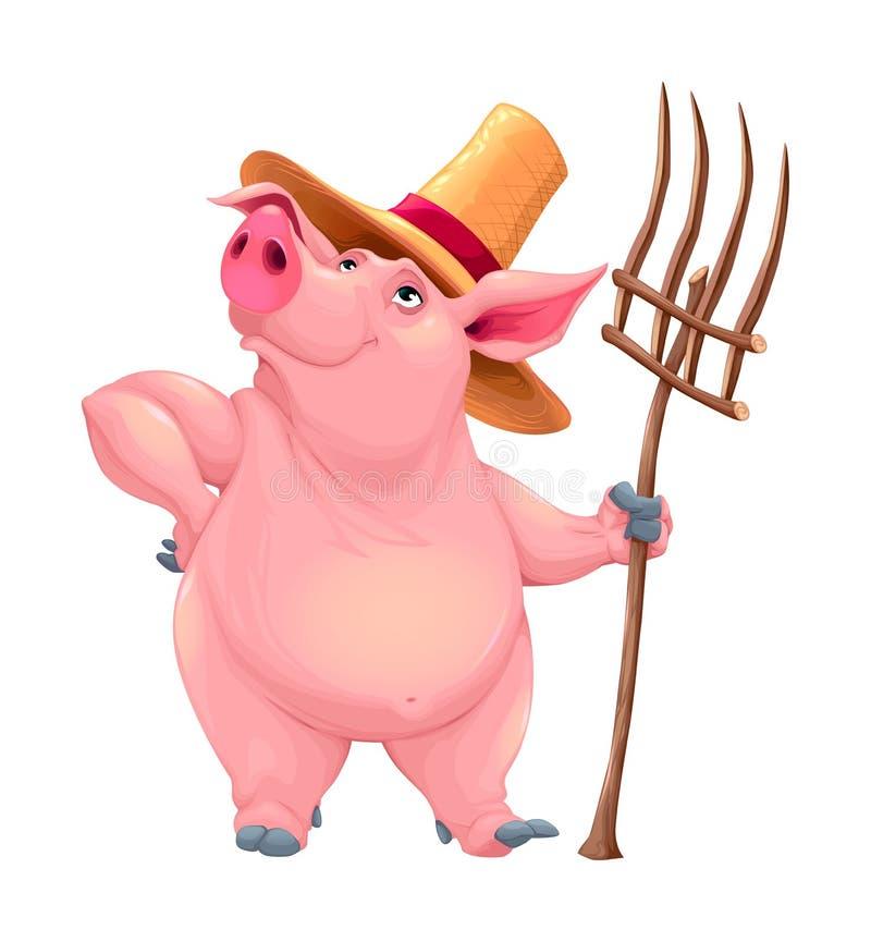 Farmer pig with tool stock illustration