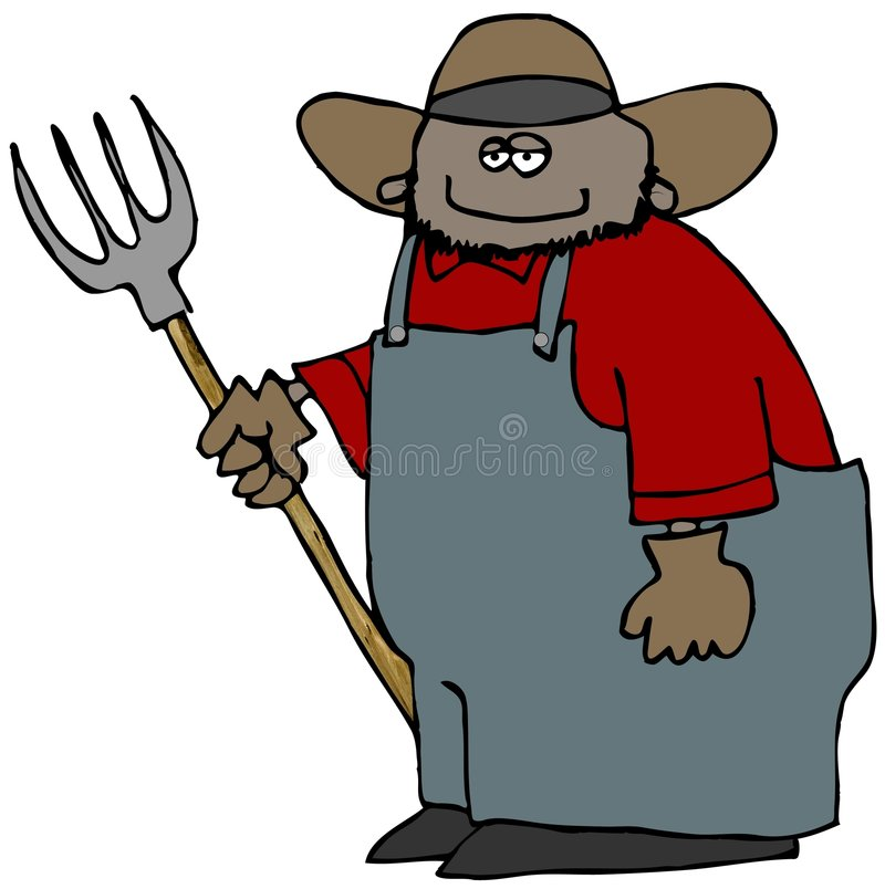 Farmer With A Pitchfork royalty free illustration