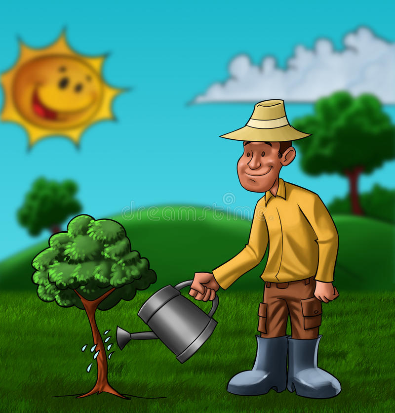 The farmer and the plant vector illustration