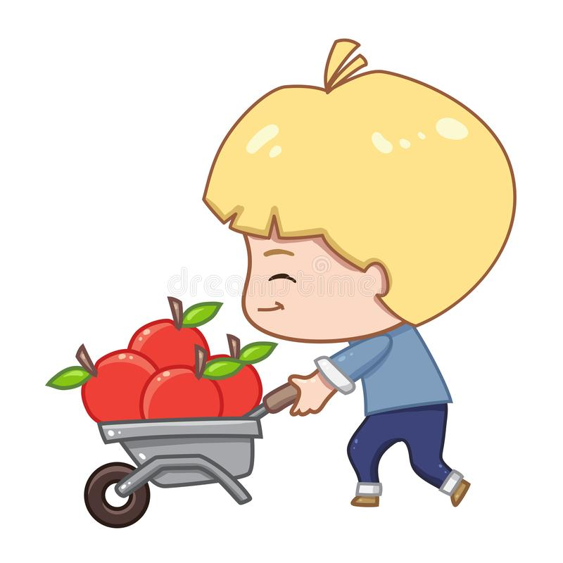 A farmer pushes a wheelbarrow of fruit. Vector illustration of cute Chibi character isolated on white background. A farmer pushes a wheelbarrow of fruit vector illustration