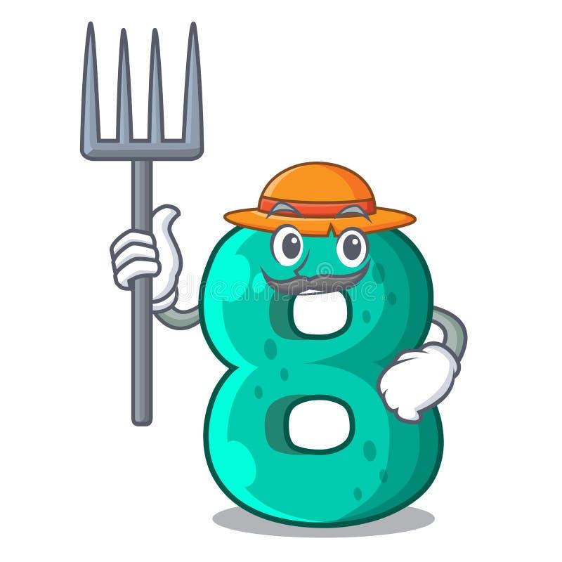 Farmer raster version cartoon shaped Number Eight. Vector illustration stock illustration