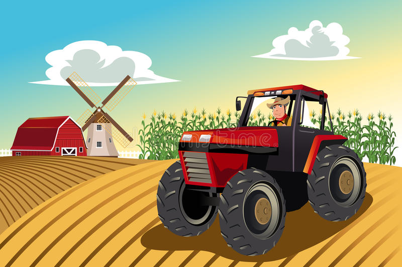 Farmer riding a tractor. A vector illustration of a farmer riding a tractor working in his farm royalty free illustration