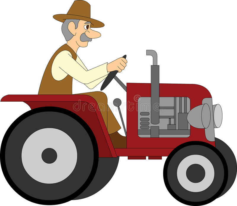 Farmer Riding a Tractor stock illustration