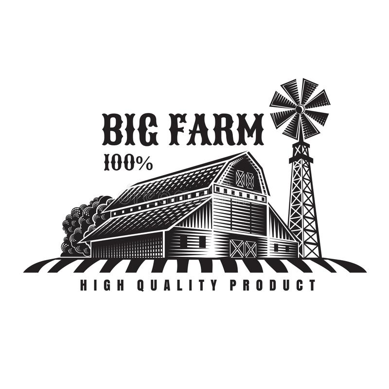 Free Farmer`s Field, Windmill And Barn Retro Style Vintage Label Isolated Royalty Free Stock Image - 133583846