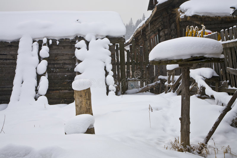 Farmer's house in snow. Snow village in the northeast of china royalty free stock image