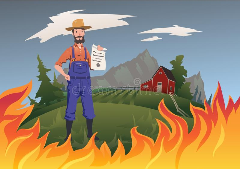 Farmer`s insurance concept, vector illustration. Fire on the farm. A calm farmer stands and holds the insurance in his royalty free illustration