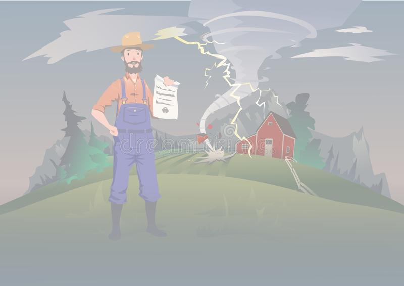 Farmer`s insurance concept, vector illustration. Tornado on the farm. A calm farmer stands and holds the insurance in royalty free illustration