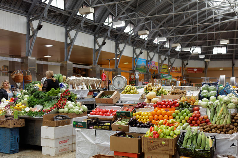 Farmer's market Kuznechny in St. Petersburg, Russia royalty free stock images