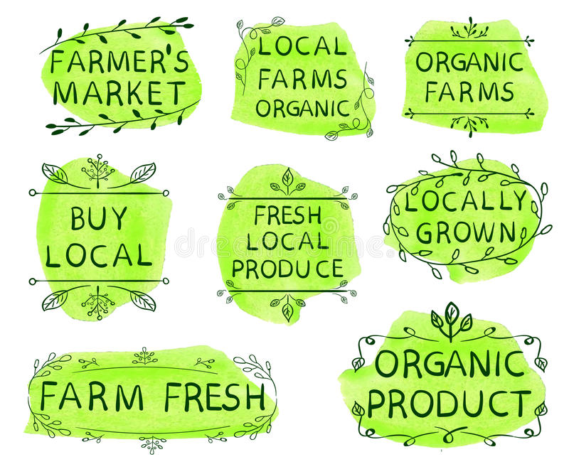 Farmer`s market, local farms organic, organic farms, buy local, fresh local produce, locally grown, farm fresh, organic. Product. Set of VECTOR icons on yellow stock illustration